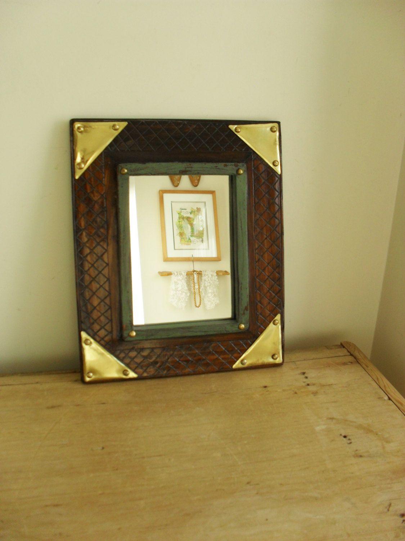 Vintage AFRICAN Mirror African Art Wall Mirror Carved Wood/Metal ...