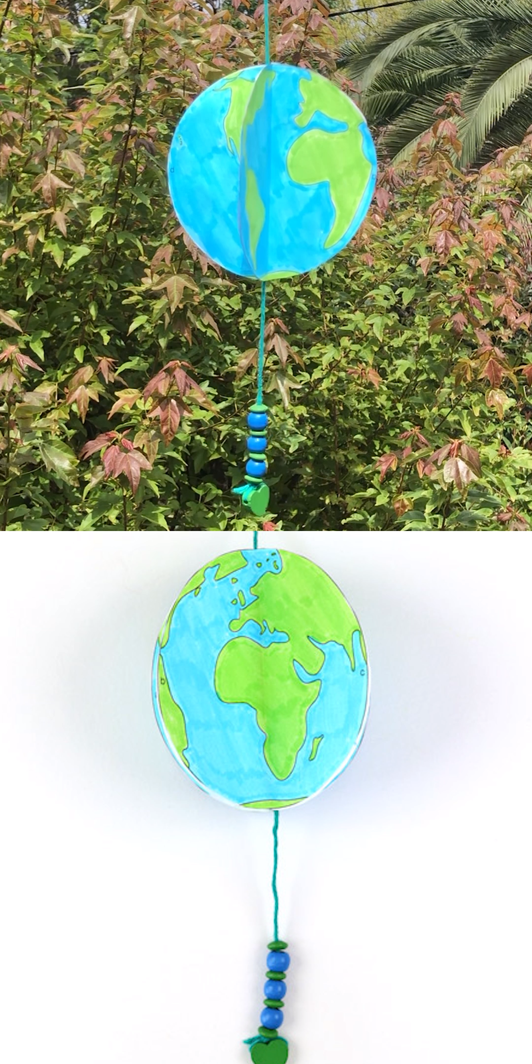 spinning paper earth craft for kids with free printable template. This 3D paper earth spins in the wind just like our real planet does! A fun and easy craft idea for earth day and a great STEM project for kids. #earthday #stemcraft #kidscrafts #kidsactivities #creativefun #thecrafttrain ##earthdaycrafts #papercrafts #spinner #3Dcrafts