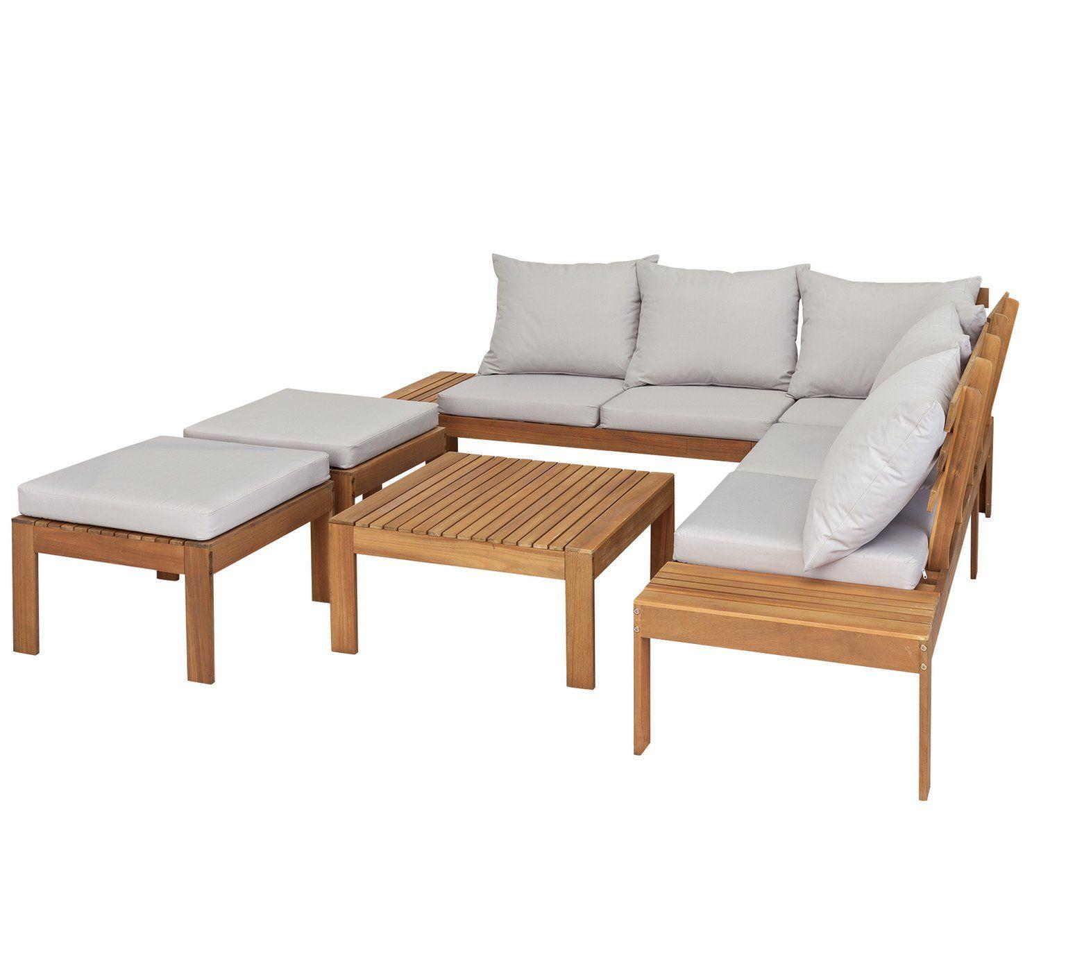 Buy Argos Home 6 Seater Wooden Corner Sofa Set Patio Sets Argos Corner Sofa Set Corner Sofa Garden Wooden Garden Furniture