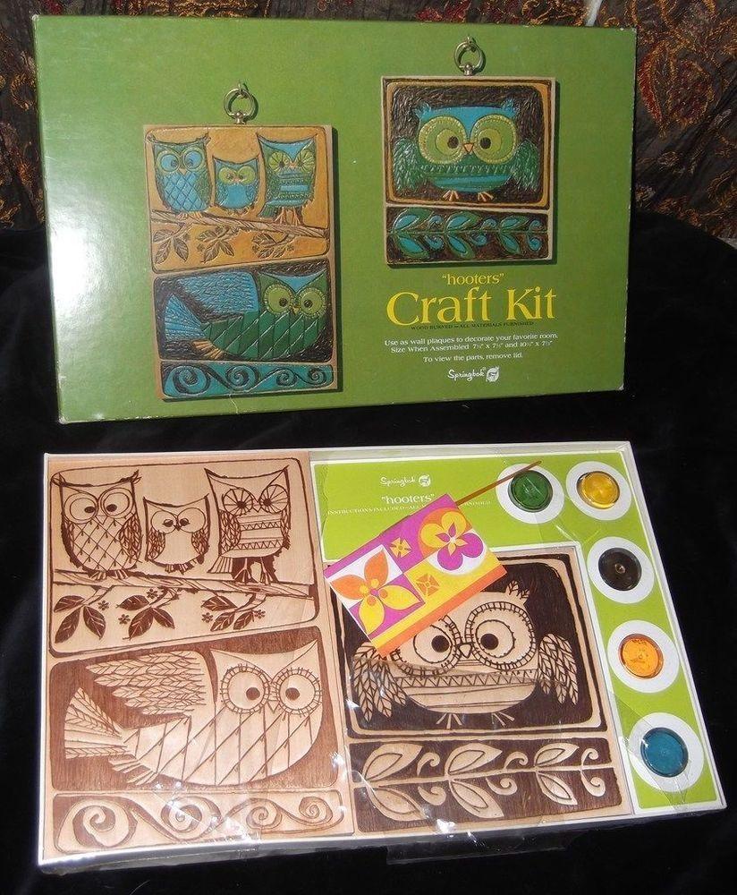 New Vtg HOOTERS Owl Craft Kit Wood Burned Wall Plaques Painting Springbok Unused