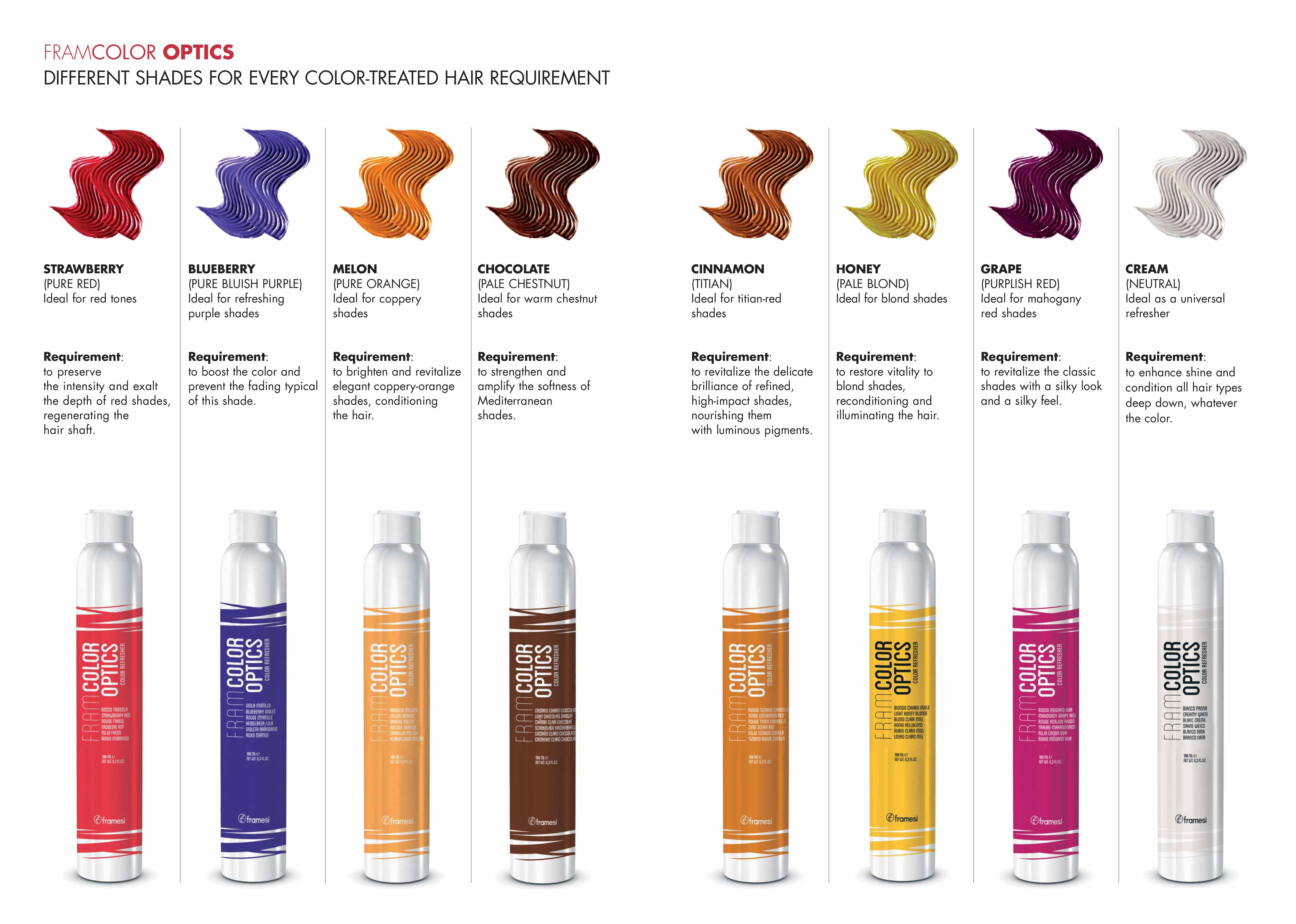different hair styling products framcolor optics different shades for every color 7955