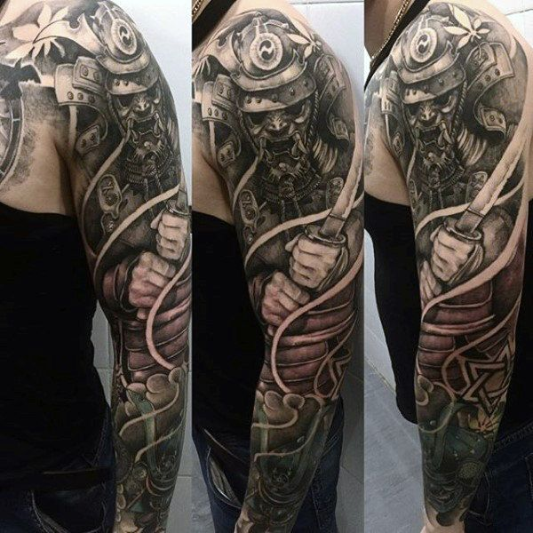 dbef7b3e88081 Man With Shaded Samurai Charging Tattoo Full Sleeve 100 Japanese Samurai  Mask Tattoo Designs For Men