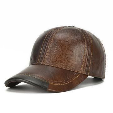 824eed0599d Mens Cowhide Leather Baseball Cap