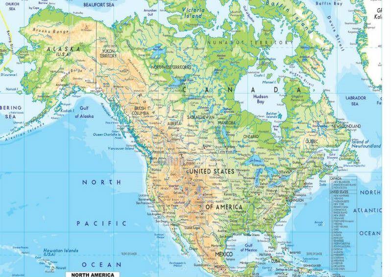Resultado De Imagen Para Mapa Hidrografico De America Del Norte Completo North America Map America Map Map Wall Mural