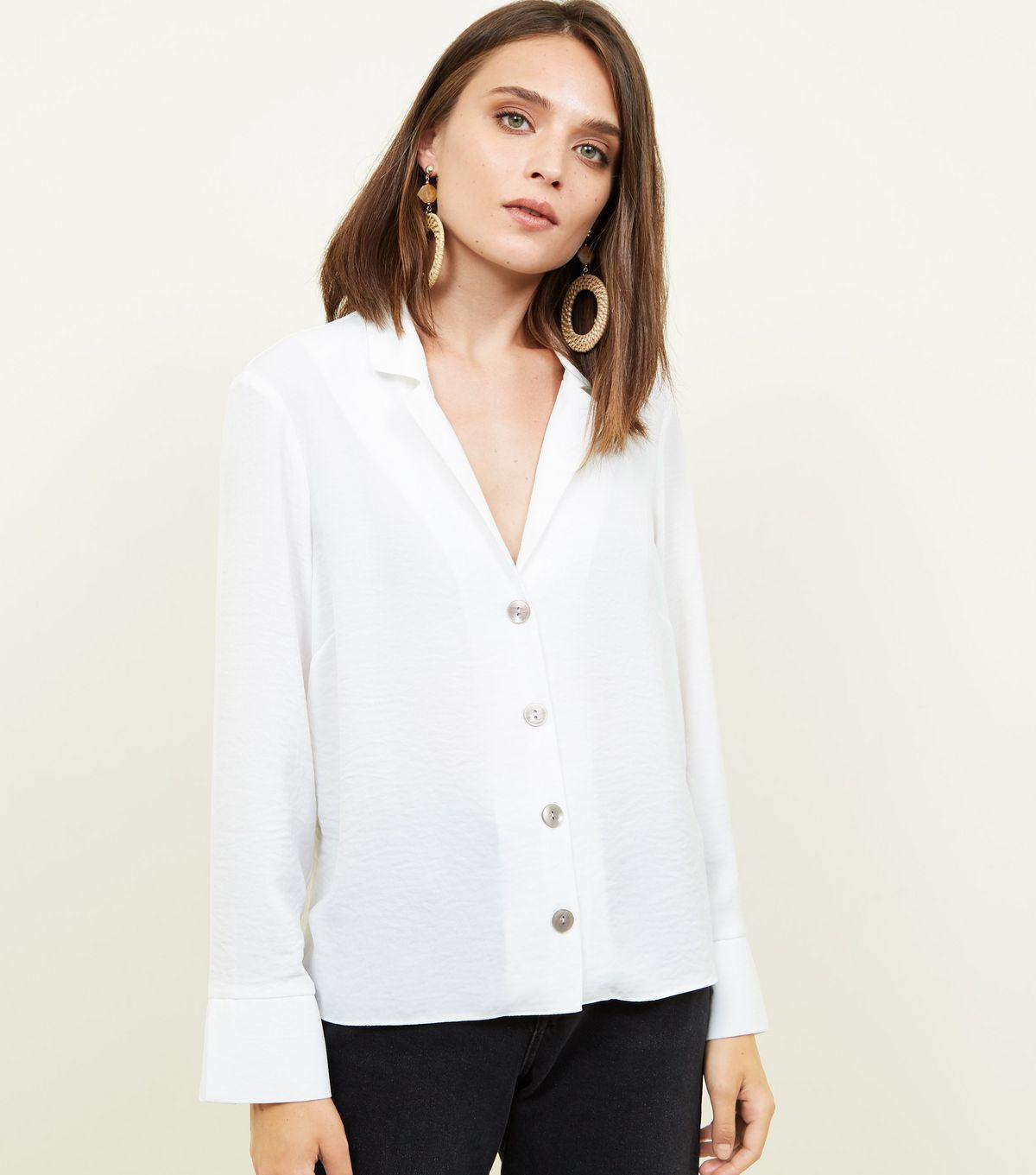 Off white crepe revere collar boxy shirt tops blouses