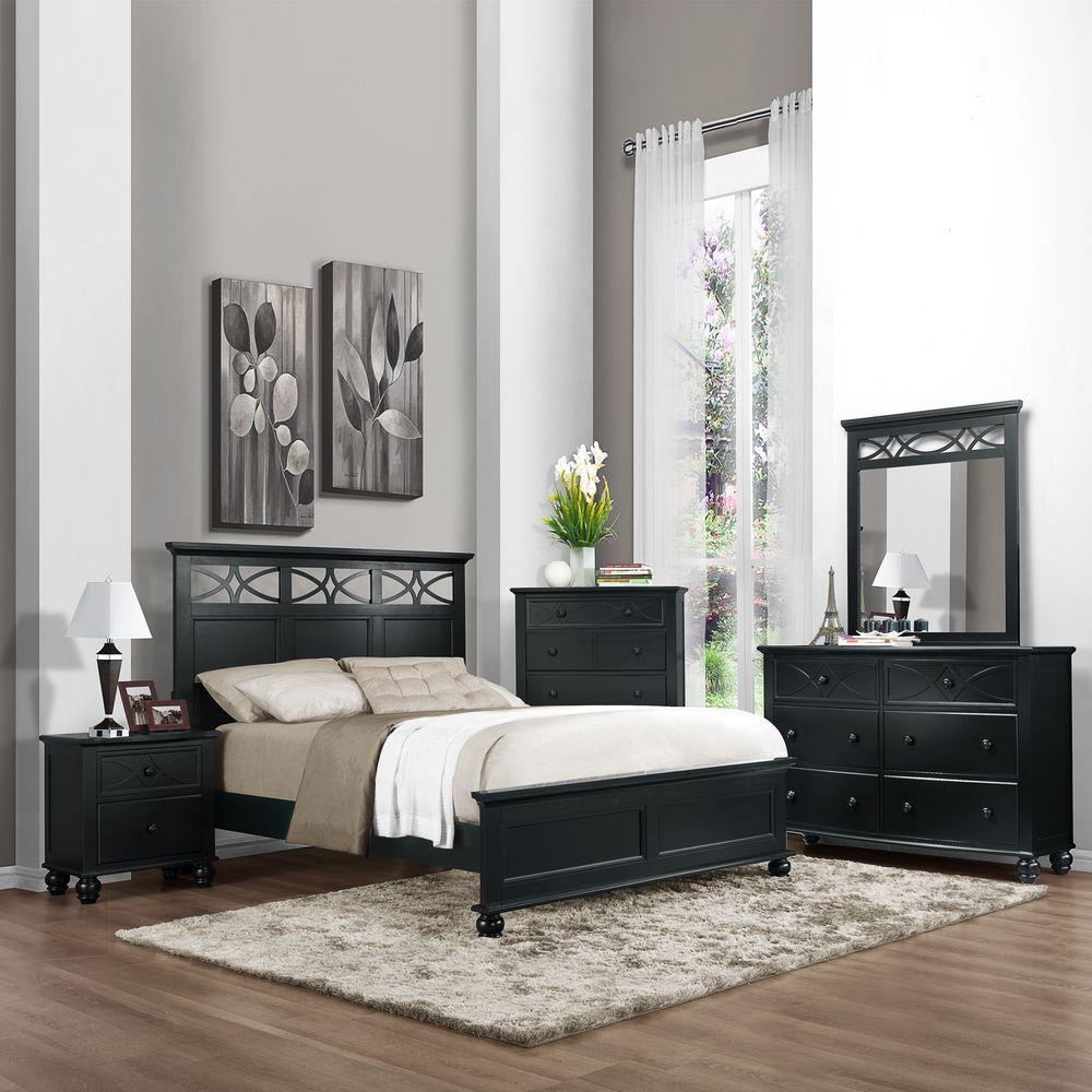 Piston 5 piece black rubberwood bedroom set overstock com