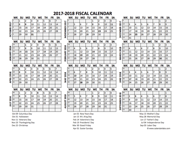 fiscal calendar 2017 18 templates free printable templates | News to ...