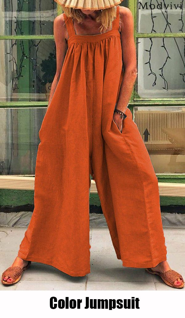 Hot ! 500+ Sold--[Solid Color Casual Sling Loose Jumpsuit] #jumpsuit #fashion #casualjumpsuit