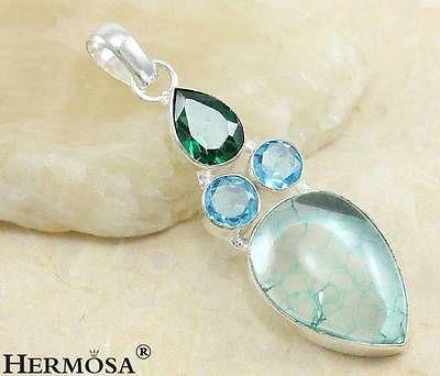 Handmade Blue Snakeskin Quartz Emerald Sterling Silver Necklace Pendant U7358