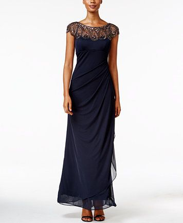 Xscape Embellished Illusion Draped Gown | macys.com