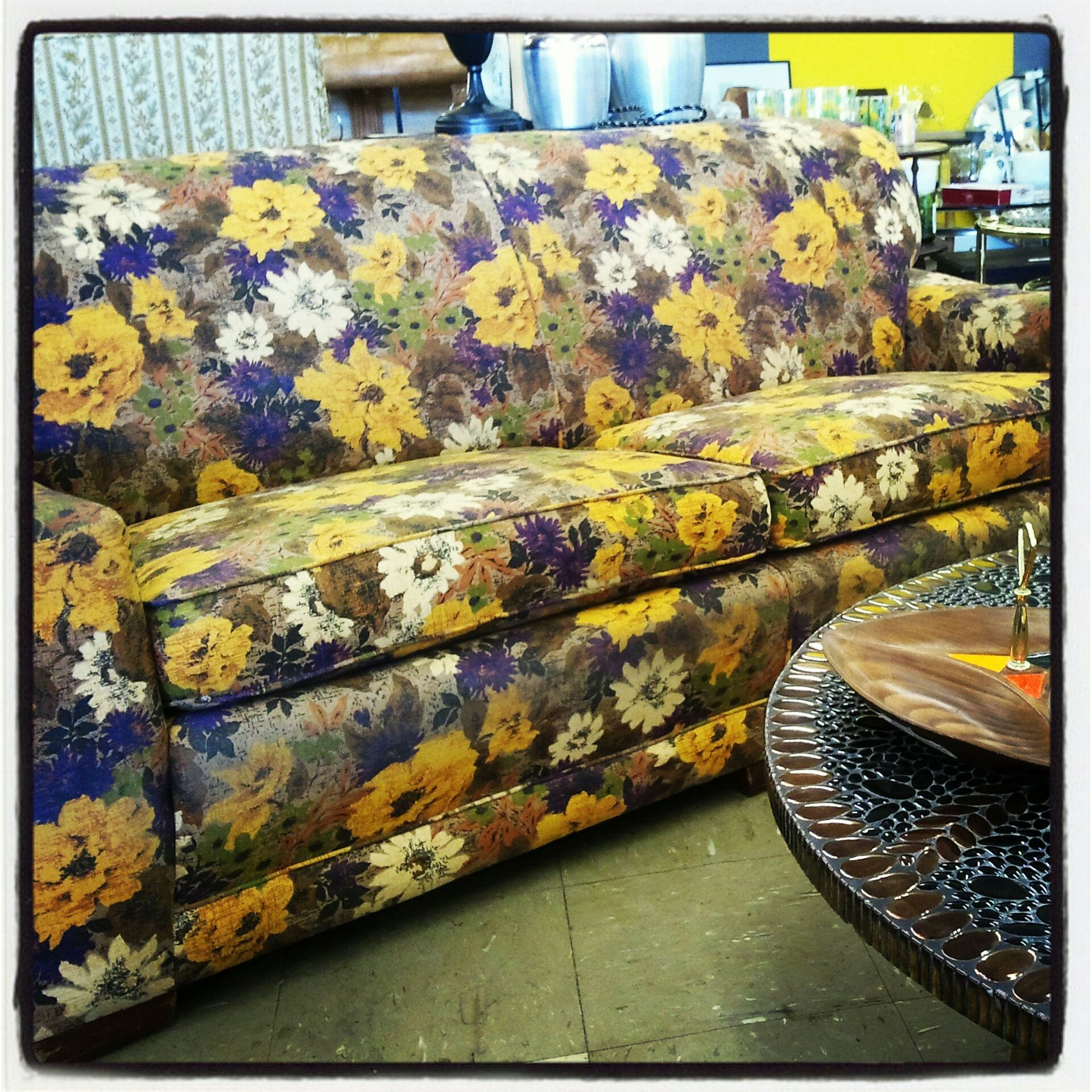 green floral sofa modern fabric sofas sydney purple yellow and furniture