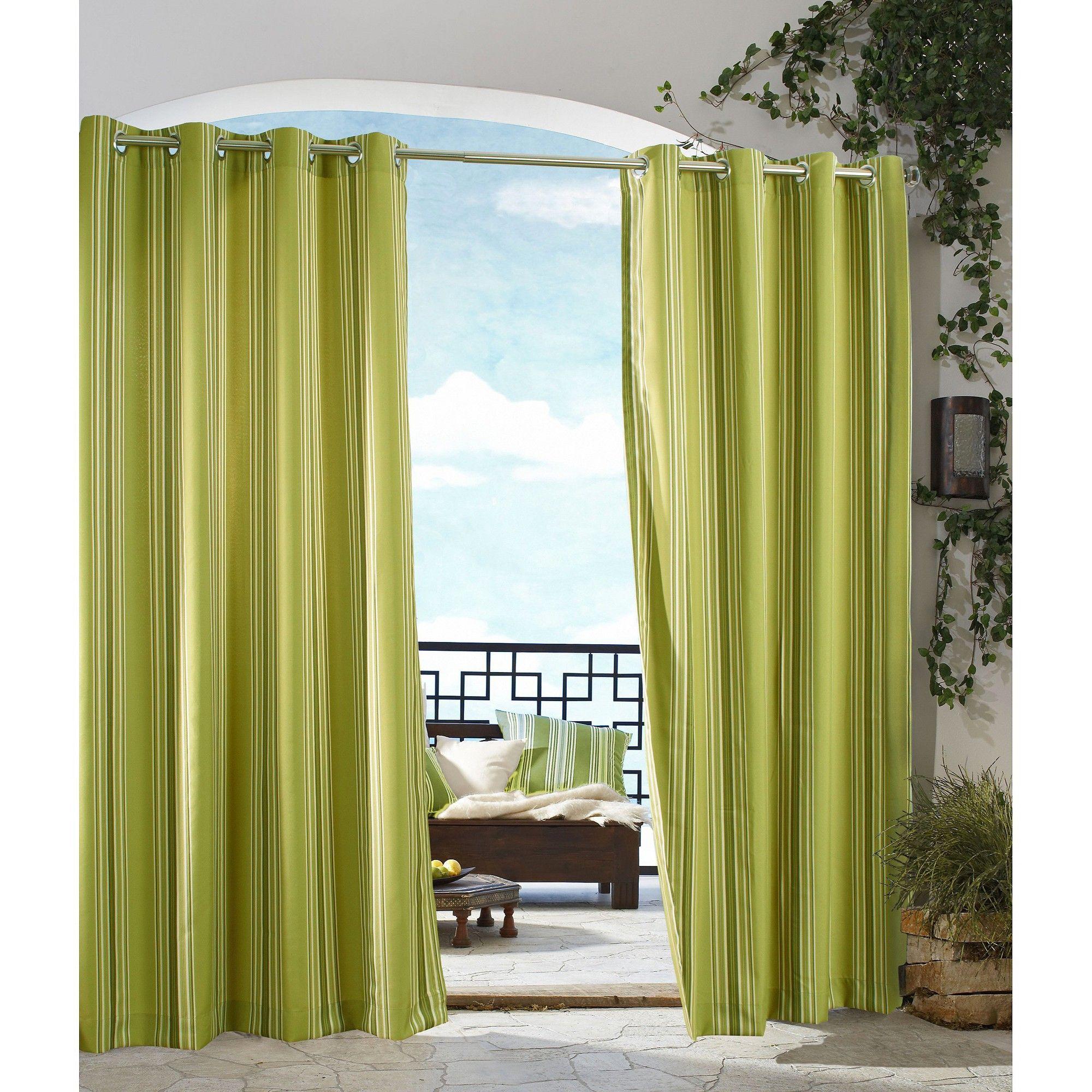 Outdoor Décor Gazebo Stripe Indoor Grommet Top Curtain Panel Green 50