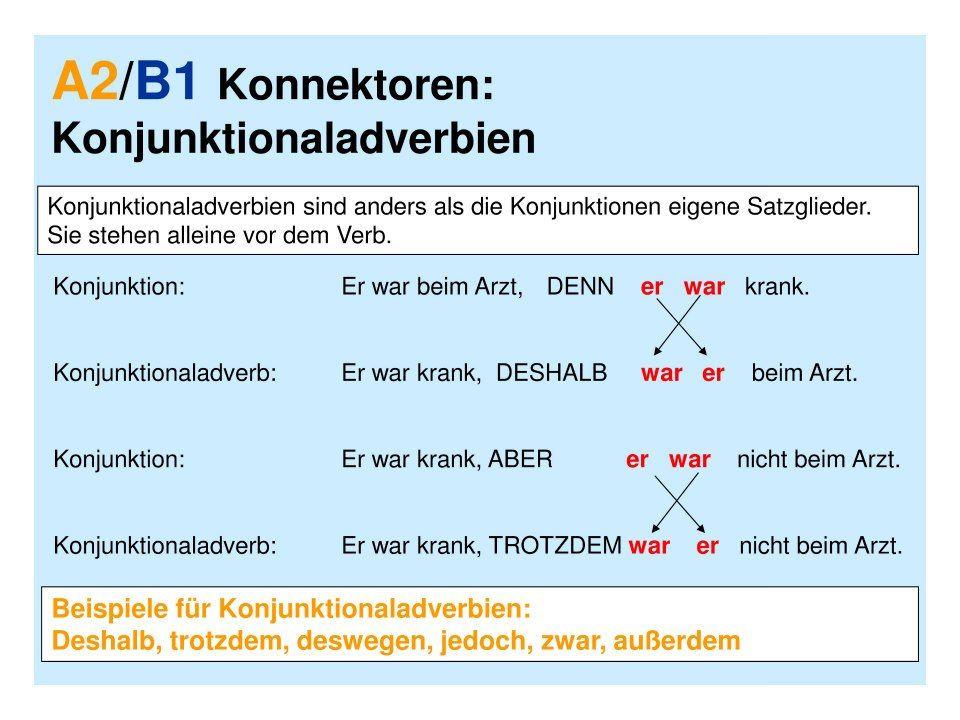 konnektoren satzordnung - Adverbialsatze Beispiele