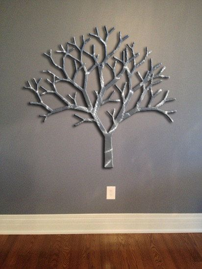 Tree Metal Wall Art - Silver Wall Decor - Tree Art - Metal Art ...