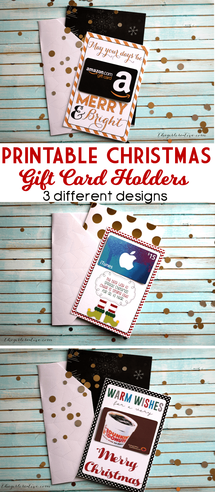Printable Christmas Gift Card Holder by The Girl Creative and other ...