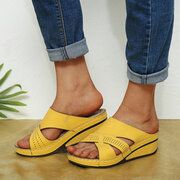 Photo of Large Size Women Comfy Open Toe Solid Color Non Slip Wedges Slippers
