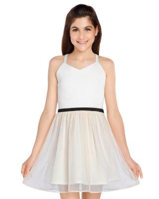 Sally Miller Girls' Emmie Cross-Back Dress - Big Kid - Ivory Combo #sallymiller
