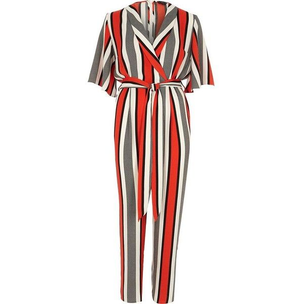 25a20d0a93b River Island Red stripe wrap tie waist jumpsuit ( 120) ❤ liked on Polyvore