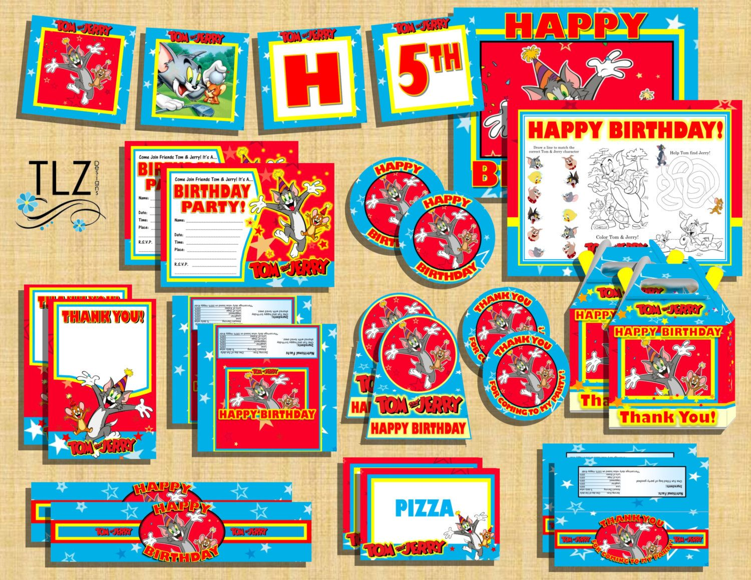 Tom Jerry Birthday Party Package Printable Digital by TLZDesigns
