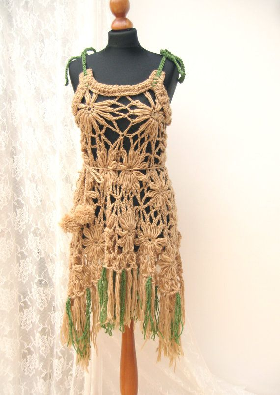 Upcycled Crochet Funny Summer Gypsy Dress Beach Cover Ups Tunic Reworked Bohemian