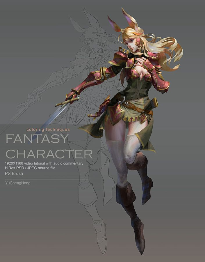 Fantasy Character Design Tutorial : Paint the fantasy character by yuchenghong female rabbit