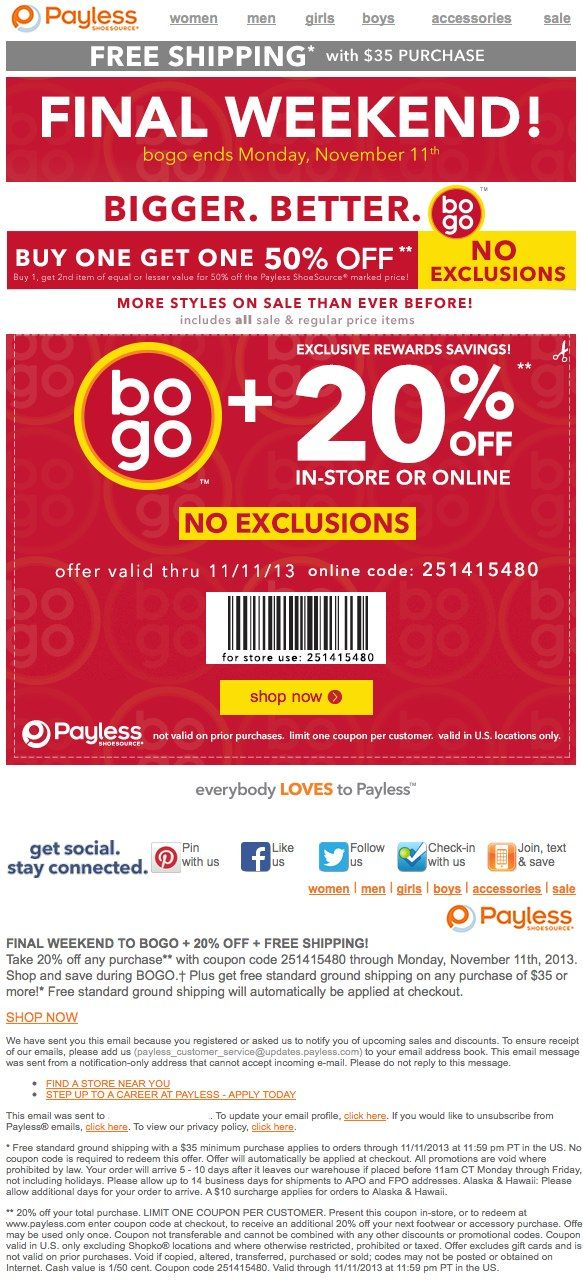 graphic about Payless Printable Coupon named Payless Footwear: 20% off Printable Coupon Discount codes
