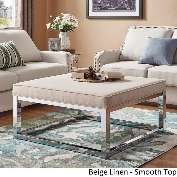 Solene Square Base Ottoman Coffee Table Chrome By