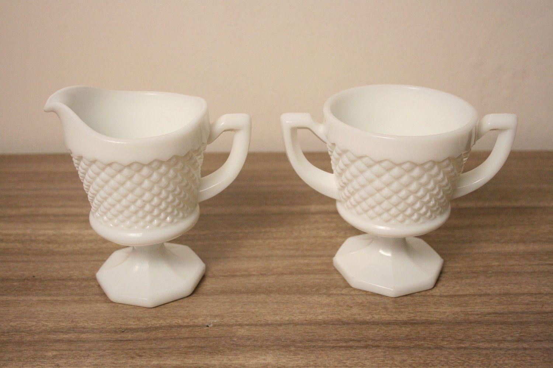 Sugar Bowl Creamer Milk Glass Westmoreland Set Vintage ...