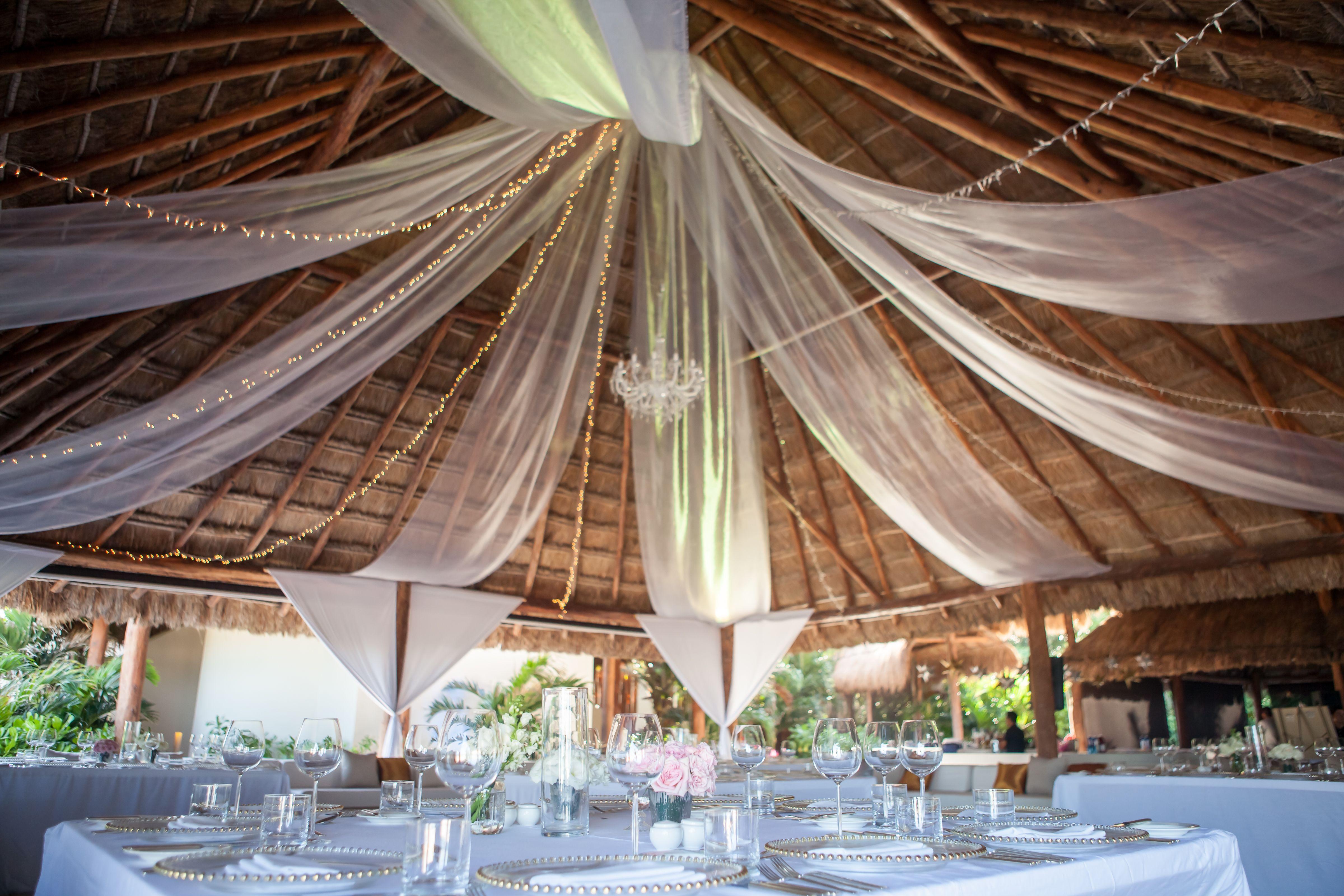 Wedding Reception In A Beach Front Palapa Rosewood Mayakoba Riviera Maya Mexico