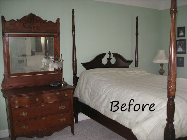 Four Poster Bed Cherry Finish Meets Shabby Chic Bed Makeover Bedroom Furniture Makeover Cherry Bedroom Furniture
