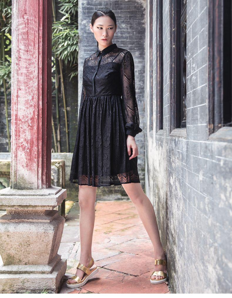 Aliexpress.com : Buy Ving 2015 Women Autumn Jacquard Medium long One piece Dress Elegant Lace Patchwork Dress Women Chiffon One piece Dress from Reliable dresse suppliers on Toyouth.