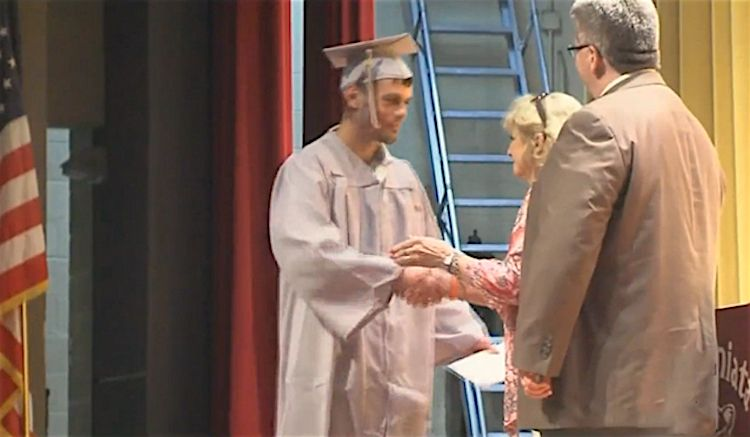 After a student missed his high school graduation while in a coma, half his classmates staged a second graduation just for him when he awoke 3 weeks later.