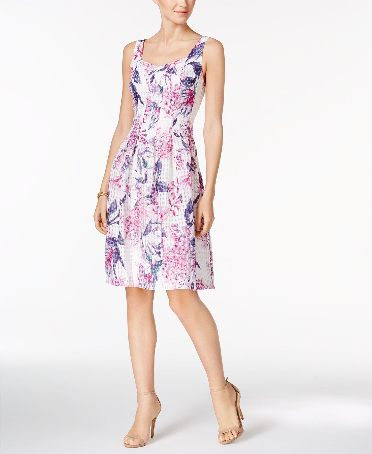 Ivanka Trump Printed Pleated Fit & Flare Dress | macys.com ...