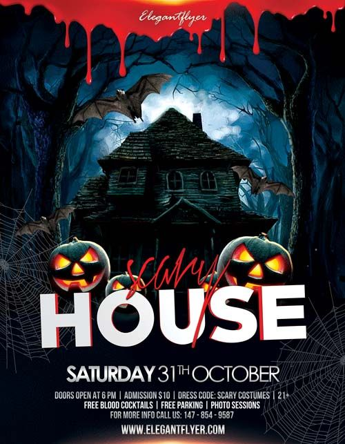 Scary House Free Flyer Template Httpfreepsdflyerscary