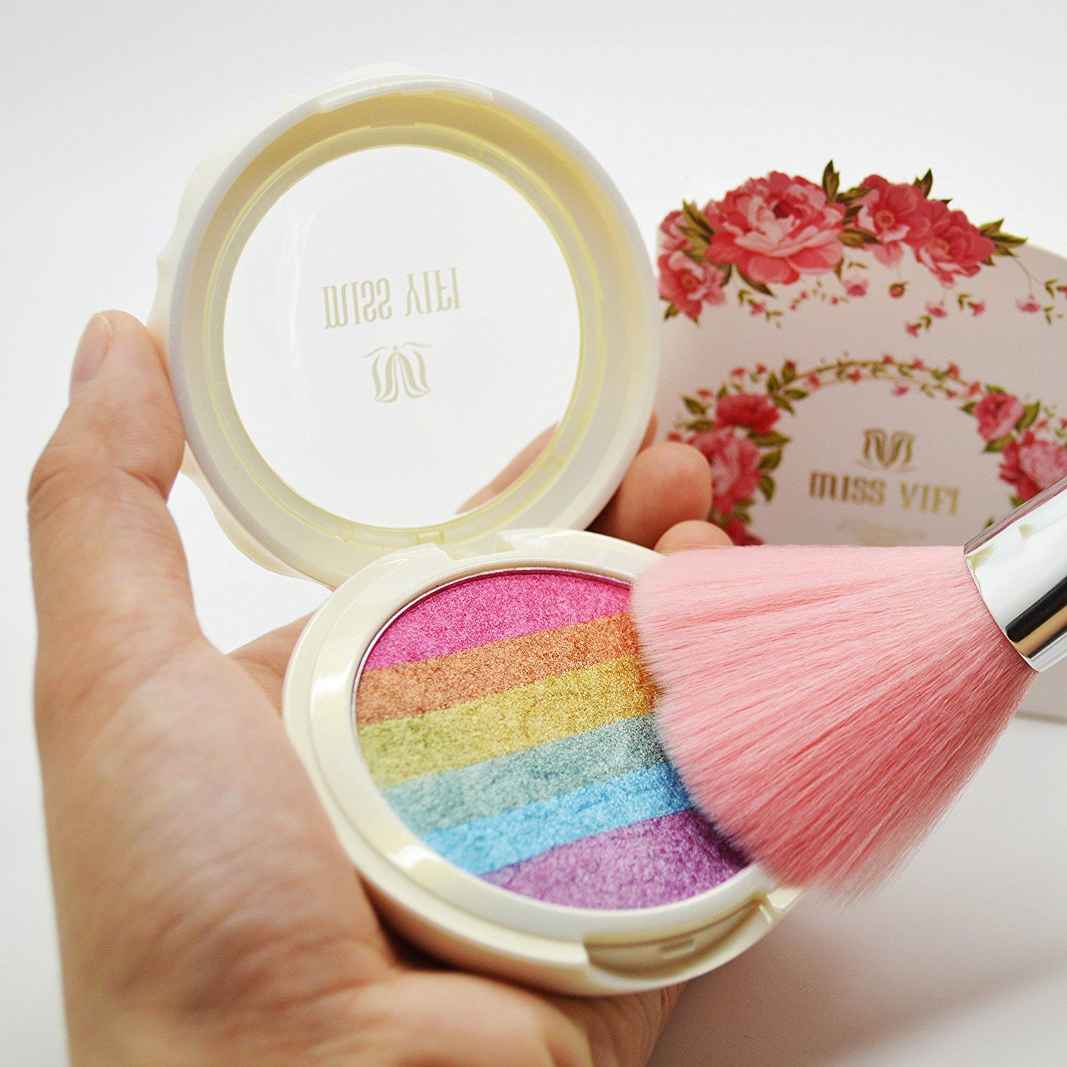 Makeup Rainbow Highlighter Eyeshadow Palette Baked Blush