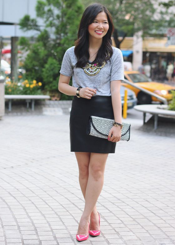 7a9644e361 Skirt The Rules Blog  NYC fashion blogger  style blog  summer outfit  photos  how to wear warm weather leather  Big Star USA Rue embellished  necklace t-shirt ...