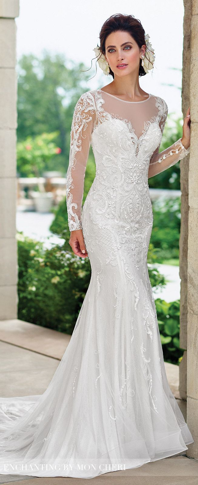 Long Sleeve Fit u Flare Wedding Dress  Enchanting by Mon