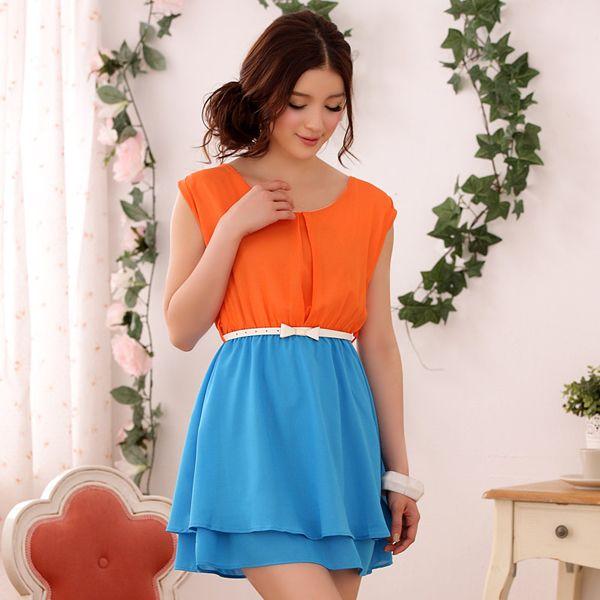 Gator season women fashion casual cool orange and blue dress k9503 ... 524c7cde5