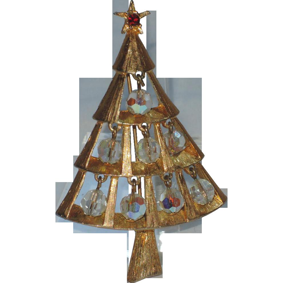 Dangling Crystals Christmas Tree Pin