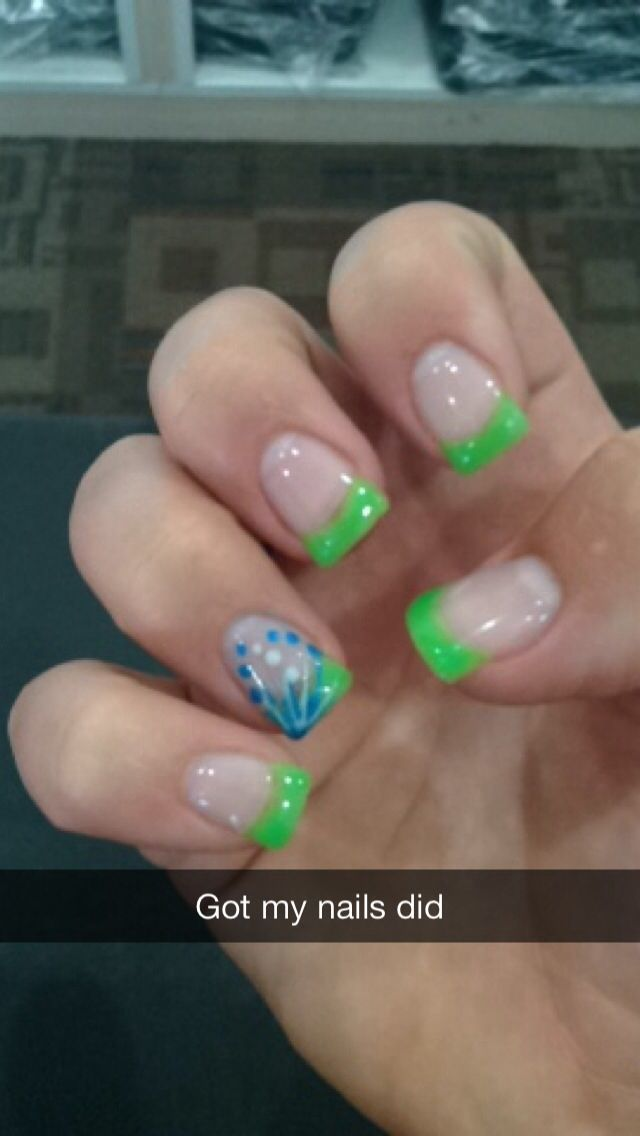Cute gel nails! Lime green french tips with blue and white lines and ...