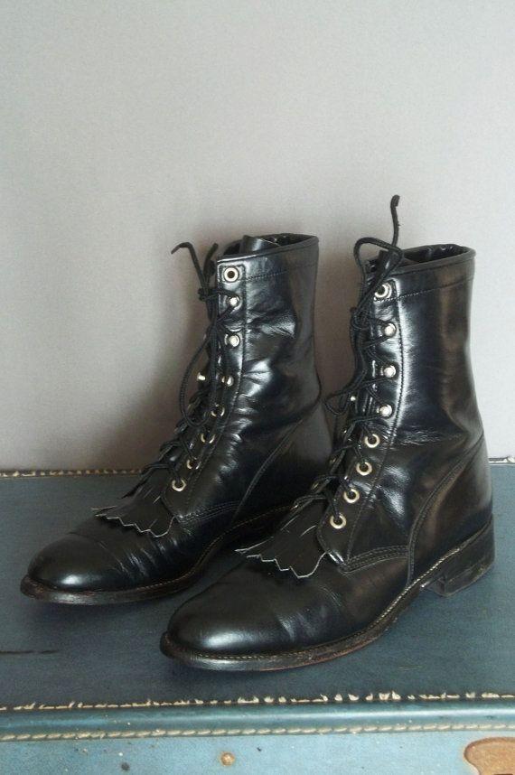c89df13815671 Vintage JUSTIN Black COMBAT FRINGE Boots Men by ataviosartefacto ...