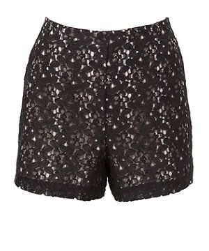 Black Pattern (Black) Black Sheer Lace High Waisted Shorts | 266702709 | New Look