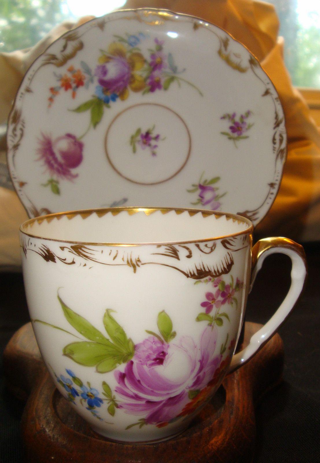 antique richard klemm dresden demitasse cup saucer florals german cups saucers pinterest. Black Bedroom Furniture Sets. Home Design Ideas