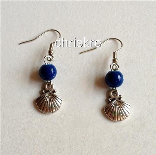 Silver Shell Earrings Pierced Nautical Sea Life Beaded Multicolors USA Seller