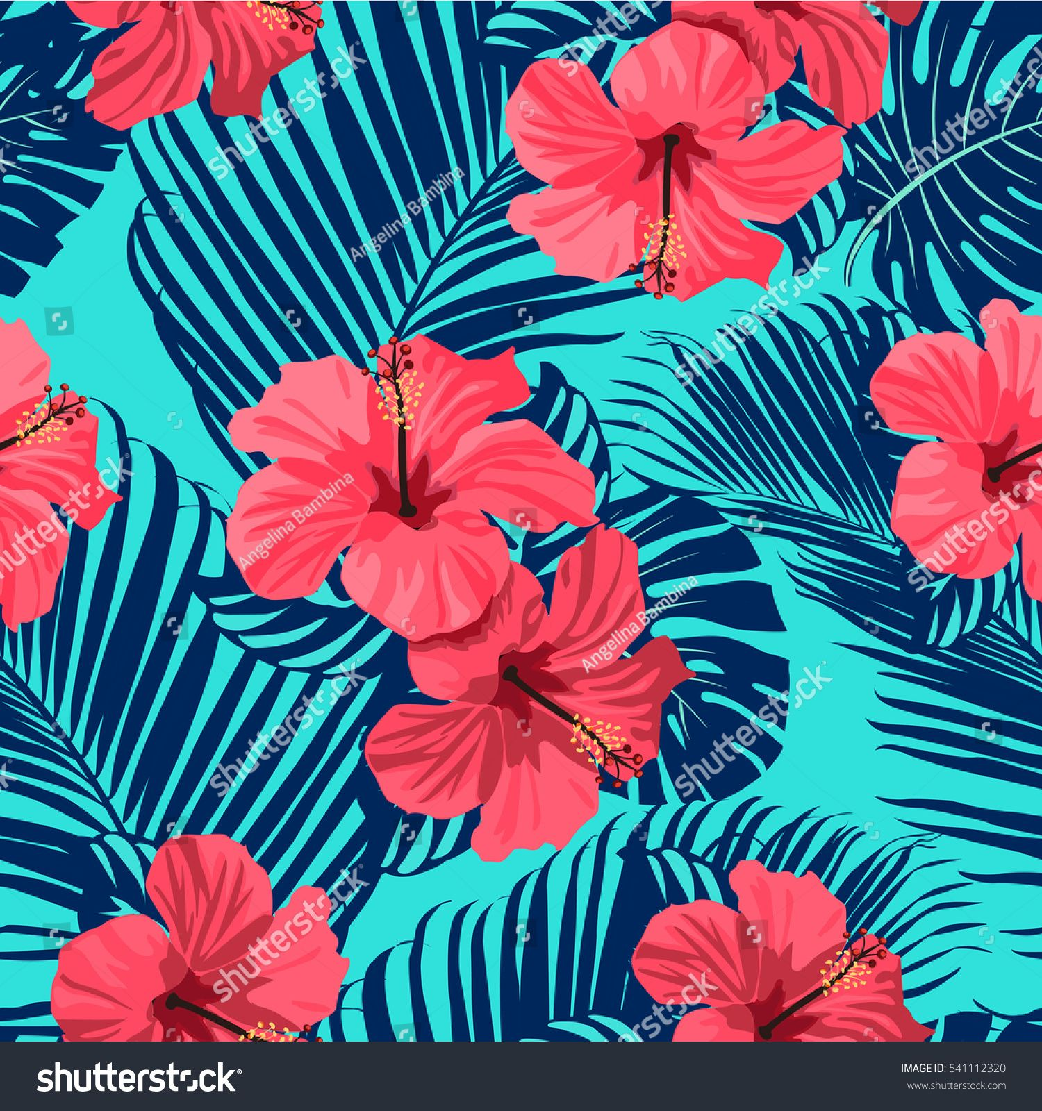 Tropical flowers and palm leaves on background. Seamless pattern. #tropicalpattern