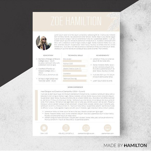 Honey Resume Template + Cover Letter by Made By Hamilton on