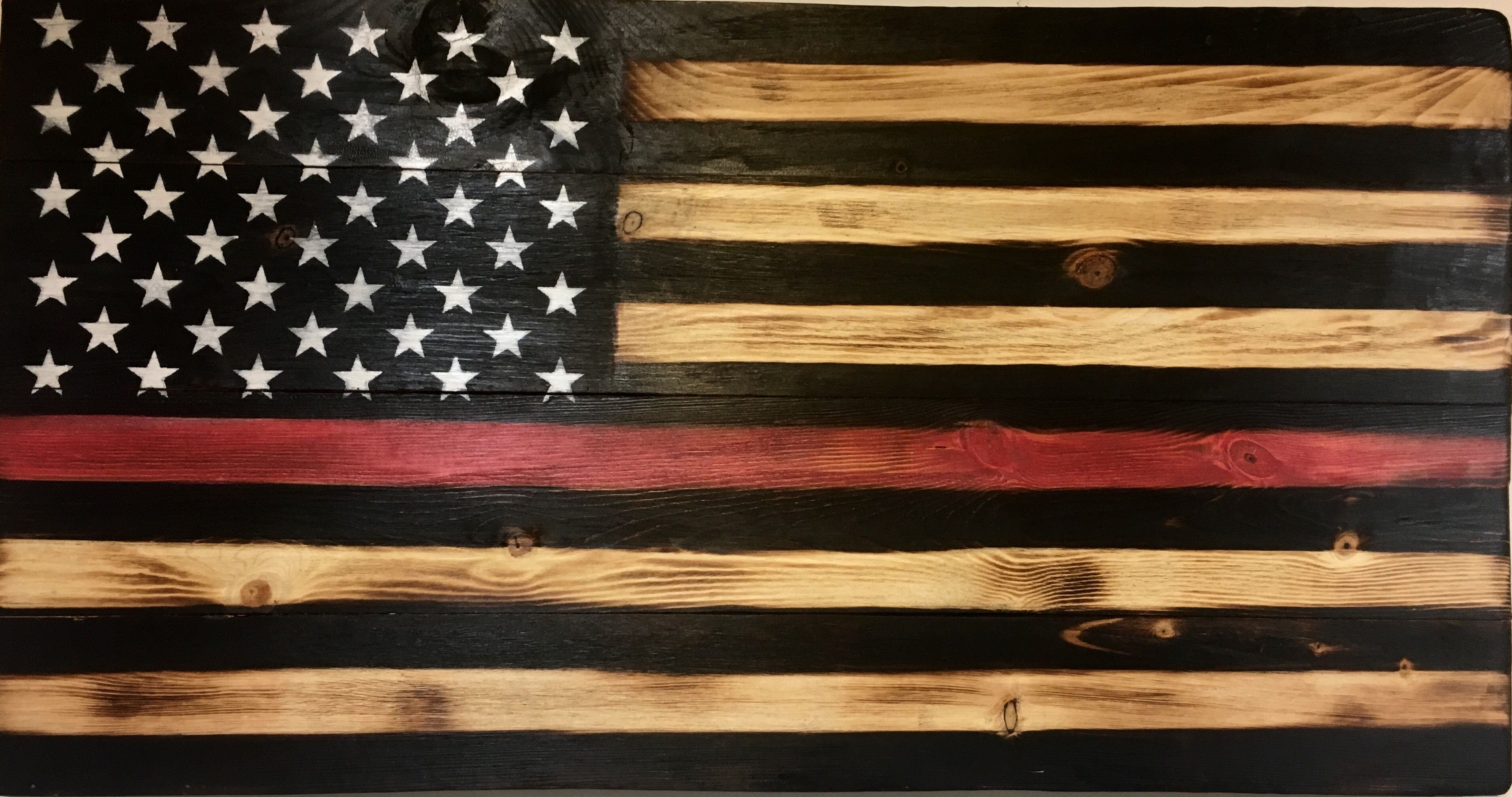 Thin Red Line Wooden American Flag Thin Red Line Flag Rustic Flags