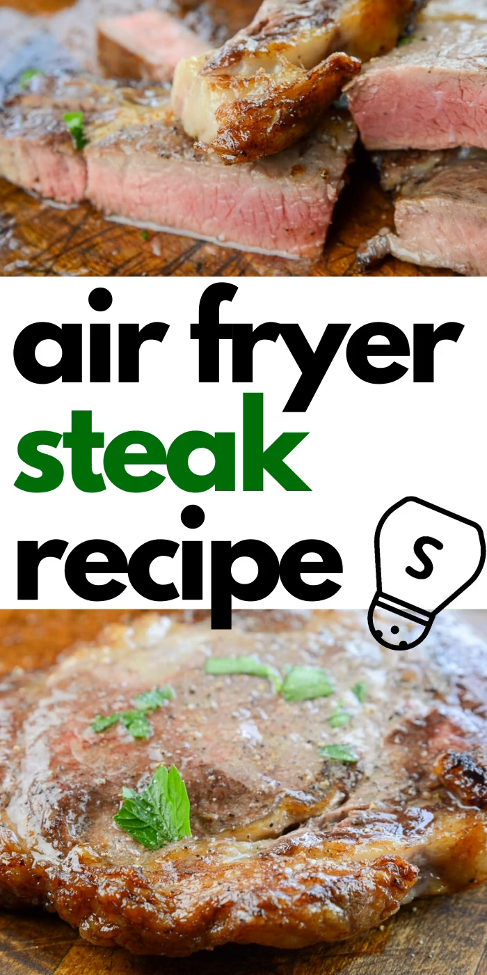 Air Fryer Steak that is seasoned to perfection, and air fried. Skip the grill and make the ultimate steakhouse worthy steak at home. So easy, you will never cook your steaks any other way. #steaks #airfryer #airfried #steakhouse #best #easy #beef #athome