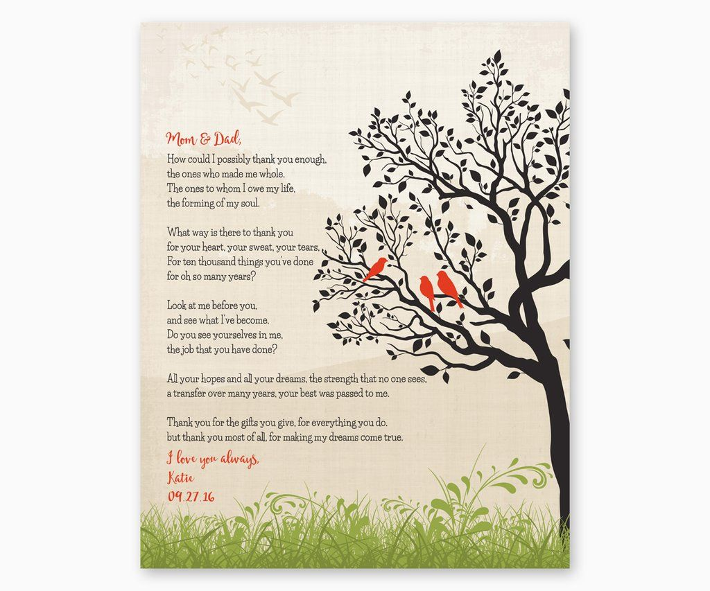Mum And Dad Personalised Gift Frame- Birthday Anniversary Christmas Thank You