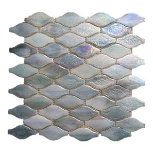 Gl Stone Wavy Shaped Glass Mosaic Tile White Pearl Sample